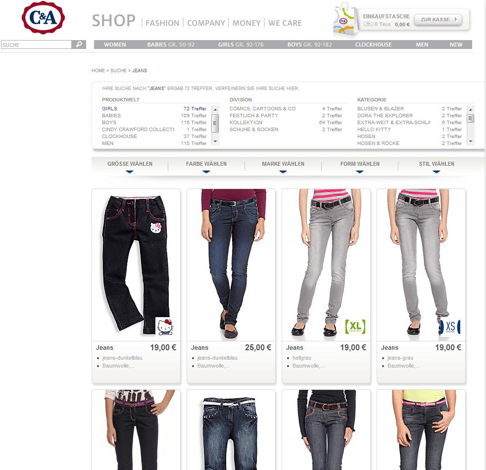 der c&a online-shop: hier kann man mode günstig kaufen